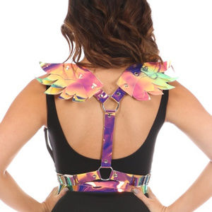 Festival Rave Rainbow Hologram Wings Body Harness